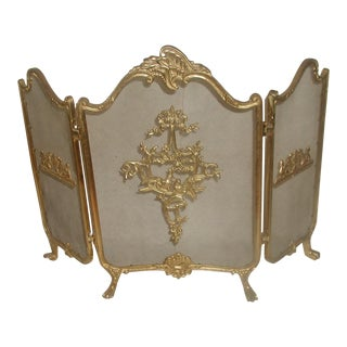Early 20th-C. Brass Love Birds Fire Screen