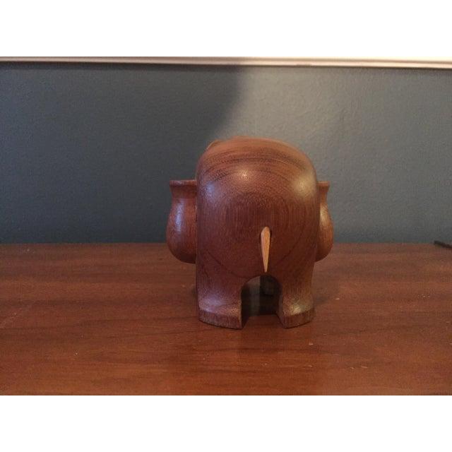 Vintage Hand Carved Teak Elephant Tooth Pick Holder - Image 6 of 7