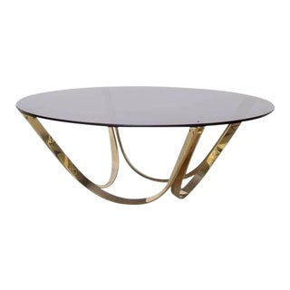 Brass and Smoked Glass Coffee Table by Tri-Mark, circa, 1971