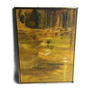 Mid-Century Abstract Modern Art Canvas Framed
