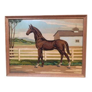 Large Vintage Paint by Number Horse Painting