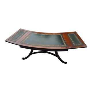 Curved Drop-Leaf Green Leather Top Coffee Table