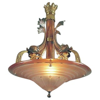 "40s French ""Fantasy"" Chandelier, Mythical Dolphins"