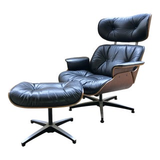 Mid-Century Eames Style Lounge Chair & Ottoman Set