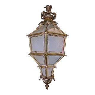 French Bronze Hanging Lantern Light Fixture