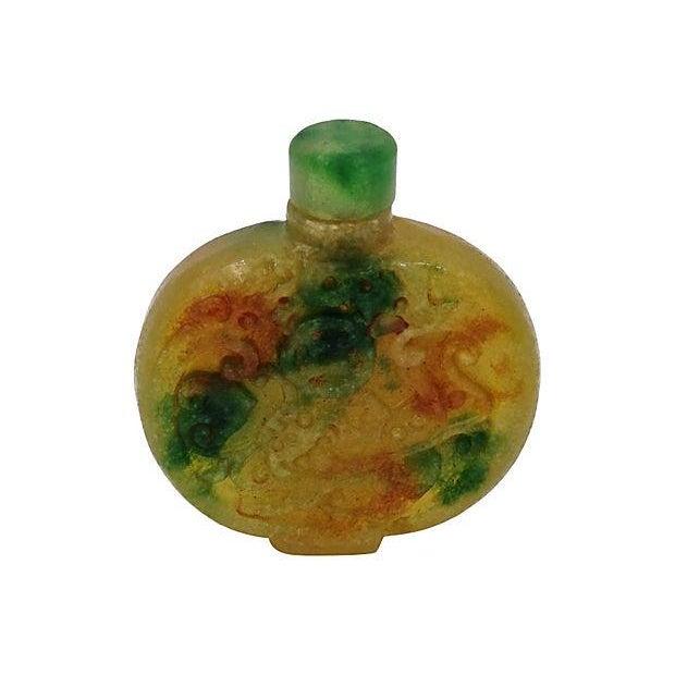 Image of Antique Hand Carved Jade Snuff Bottle