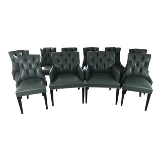 Custom Green Tufted Dining Chairs - Set of 10