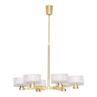 Italian 1960s Luxury Brass Chandelier with Six Arms
