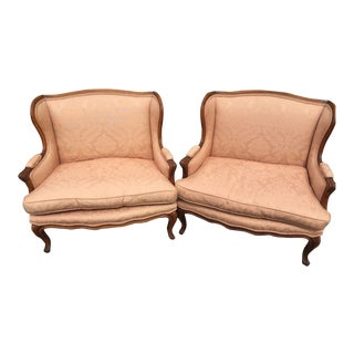 French Louis XV Marquis Bergère Chairs - A Pair