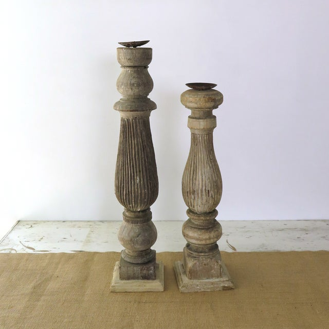 Reclaimed Wood Baluster Candle Holders Pair Chairish