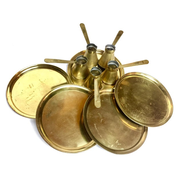 Antique Turkish Brass Coffee Service - 10 Pieces - Image 5 of 5