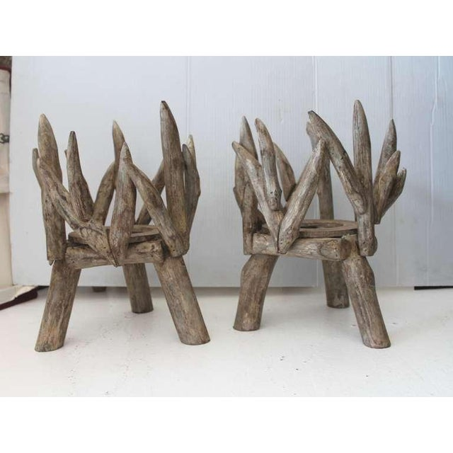 Image of Pair of Painted Wood and Twig Planters