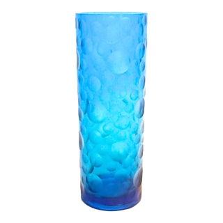 Mid-Century Modern Circles Cut Cobalt Glass Vase