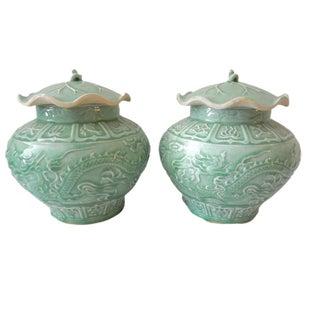 Dragons Celadon Lidded Ginger Jars