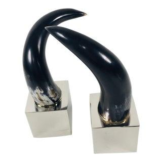 Mounted Natural Horns - A Pair