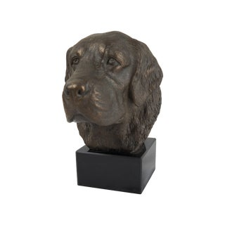 Metal Dog Bust On Marble Base