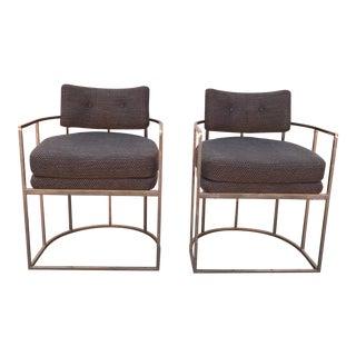 Milo Baughman Style Arm Chairs - A Pair