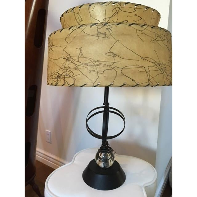 Atomic Mid-Century Lamp With Shade - Image 3 of 9