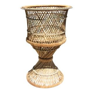Vintage Boho Chic Wicker Rattan Pedestal Planter