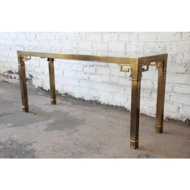 Mastercraft Hollywood Regency Brass and Glass Console Table with Greek Key Motif - Image 8 of 8