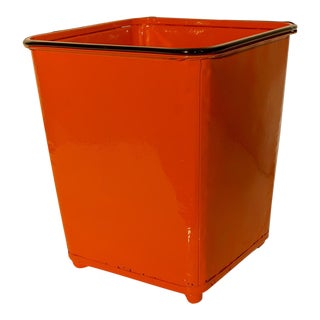 1930 Machine Age Safety Orange Steel Trash Can