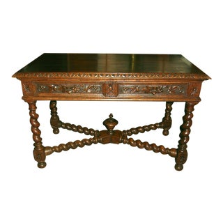 French Hunting Table/Desk with 2 Drawers