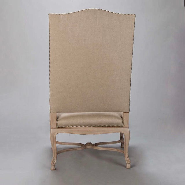 Tall French Arm Chair with Carved Painted Frame - Image 6 of 7
