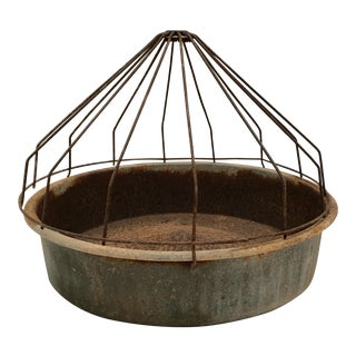 Vintage Farmhouse Domed Galvanized Metal Chicken Feeder