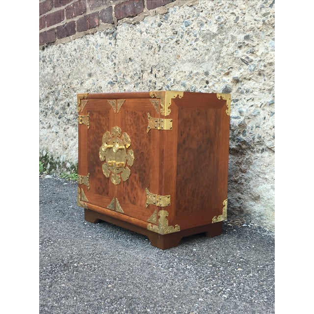 Image of Vintage Chinoiserie Wood & Brass Jewelry Box