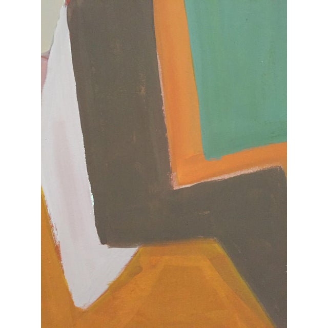 Mid-Century Gouache Cubist Female Nude Painting - Image 6 of 7