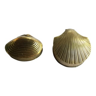 Brass Seashells Shaped Boxes - A Pair