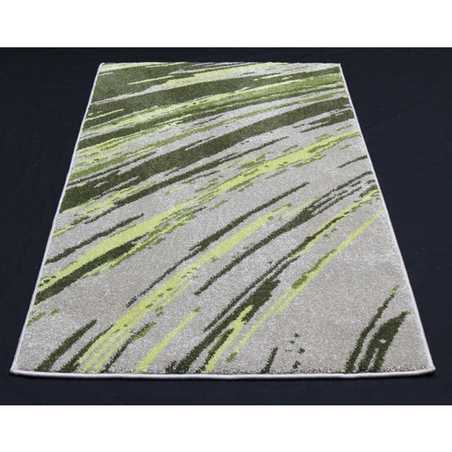 "Green Abstract Striped Rug - 2'8"" X 5' - Image 2 of 3"