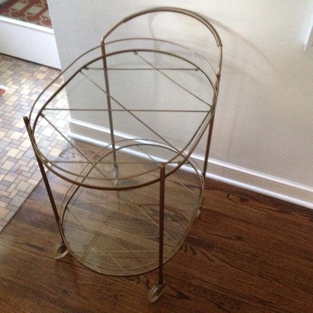 Vintage Brass Bar Cart - Image 5 of 11