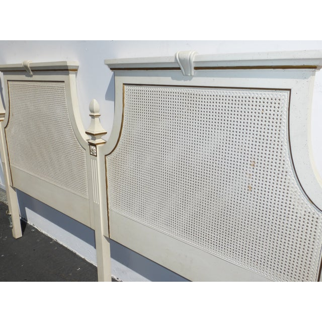 French Provincial White & Gold Cane Headboard - Image 7 of 11