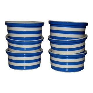 Set of Six Dip Bowls Cornishware Blue White Ceramic Stripe Ramekin Bake Freexe Serve Dessert Stoneware