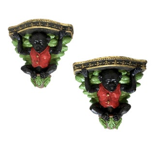 Vintage Monkey Figure Wall Brackets - A Pair