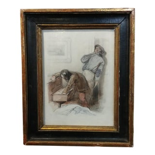 """Sulpice-Guillaume Chevalier """"Two Thieves"""" Original Painting, 1840s"""