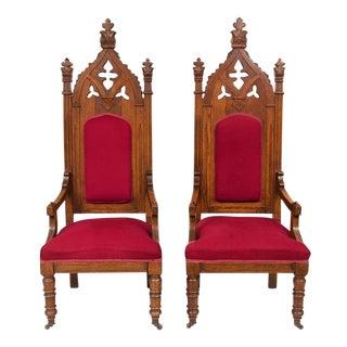 1800s Vintage Victorian Walnut Arm Chairs - Pair