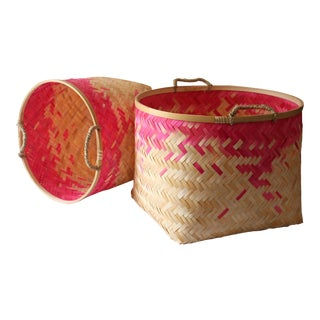 Hot Pink Bamboo Perca Baskets - A Pair