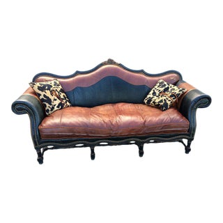 Leather/Suede Sofa With Cowhide Pillows by Western Passion