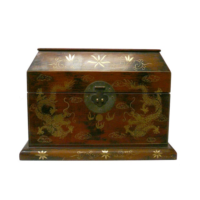 Chinese Light Brown Lacquer Golden Dragons Box - Image 1 of 5