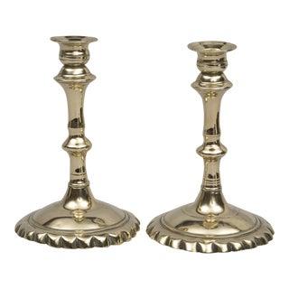 Pair French Brass Candlesticks, Circa 1750