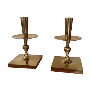 Tommi Parzinger Brass Candleholders - Pair