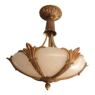 Onyx and Gold Leaf Vintage Reproduction Chandelier - Michael Cleary