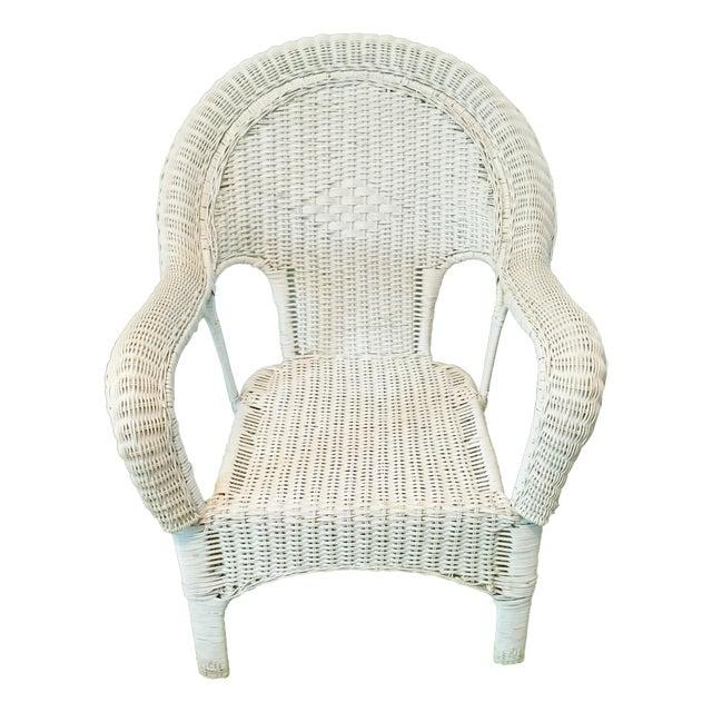 Vintage Wicker Fan Back Armchair - Image 1 of 5