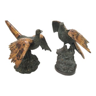 Maitland-Smith Bronze Pheasant Sculptures with Tiger Penshell Inlay - A Pair