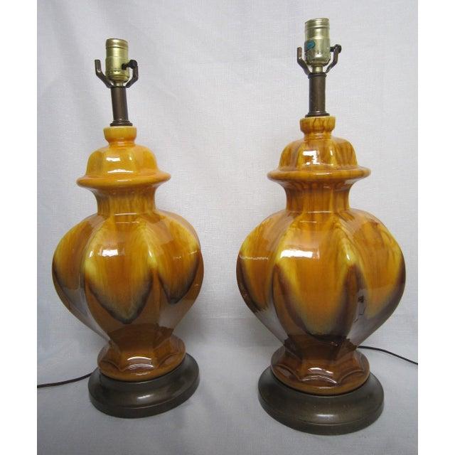 Midcentury Drip Glaze Lamps - Pair - Image 2 of 5