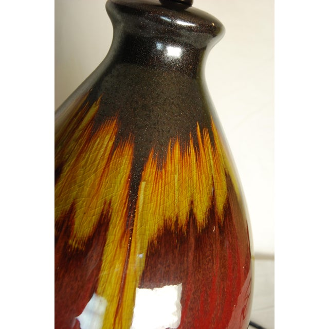 Vintage Burnt Orange Drip Glaze Lamp and Shade - Image 5 of 5