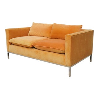 Orange Mohair Modernist Loveseat