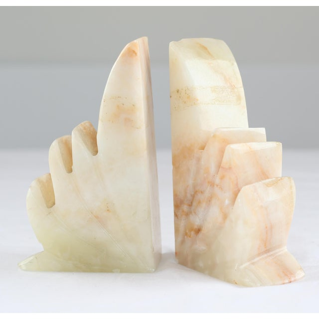Carved Sculptural Alabaster Bookends - A Pair - Image 3 of 6